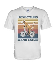 cycling and cat V-Neck T-Shirt tile