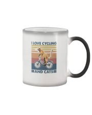 cycling and cat Color Changing Mug tile