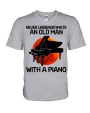 09 hat piano old man V-Neck T-Shirt tile