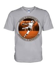 SCHOOL IS handball V-Neck T-Shirt tile