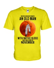 11 native old man V-Neck T-Shirt tile