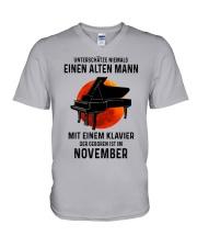 11 piano old man german V-Neck T-Shirt tile