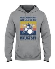 drum set oldman vintage Hooded Sweatshirt tile
