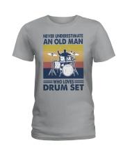 drum set oldman vintage Ladies T-Shirt tile