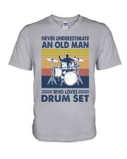 drum set oldman vintage V-Neck T-Shirt tile