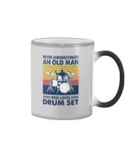 drum set oldman vintage Color Changing Mug tile