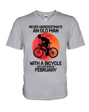 cycling never 02 V-Neck T-Shirt tile