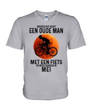 5 cycling old man never dutch V-Neck T-Shirt tile