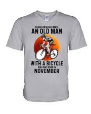 11 cycling never old man V-Neck T-Shirt tile