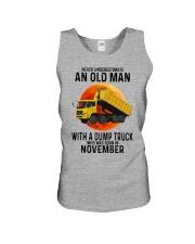 11 dump truck old man color Unisex Tank tile