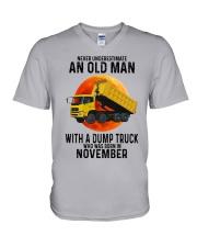 11 dump truck old man color V-Neck T-Shirt tile