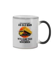 11 dump truck old man color Color Changing Mug tile