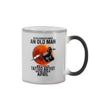 04 tatoo artist never old man Color Changing Mug tile