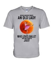 07 ballet old lady V-Neck T-Shirt tile
