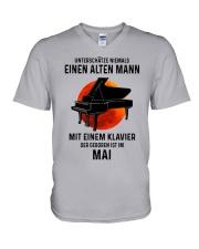 05 piano old man german V-Neck T-Shirt tile