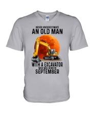 09 excavator old man color V-Neck T-Shirt tile