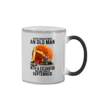 09 excavator old man color Color Changing Mug tile