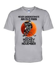 hockey old man 11 V-Neck T-Shirt tile
