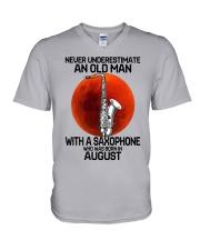 saxophone old man 08 V-Neck T-Shirt tile