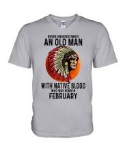 02 native blood old man V-Neck T-Shirt tile