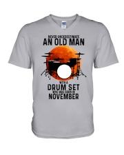 11 drum set never old man V-Neck T-Shirt tile