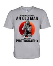 09 hat camera old man V-Neck T-Shirt tile