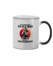 09 hat camera old man Color Changing Mug tile