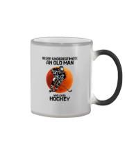09 hat hockey old man Color Changing Mug tile