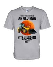 05 bulldozer old man color V-Neck T-Shirt tile