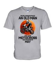 5 motocross old man V-Neck T-Shirt tile