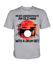 11 hat drum set old man V-Neck T-Shirt tile