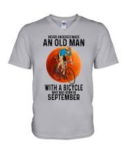 09 cycling old man color V-Neck T-Shirt tile