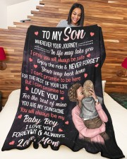 """To My Son - I Love You Forever Always Large Fleece Blanket - 60"""" x 80"""" aos-coral-fleece-blanket-60x80-lifestyle-front-04a"""