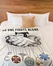 """No One Fights Alone  Large Fleece Blanket - 60"""" x 80"""" aos-coral-fleece-blanket-60x80-lifestyle-front-02"""