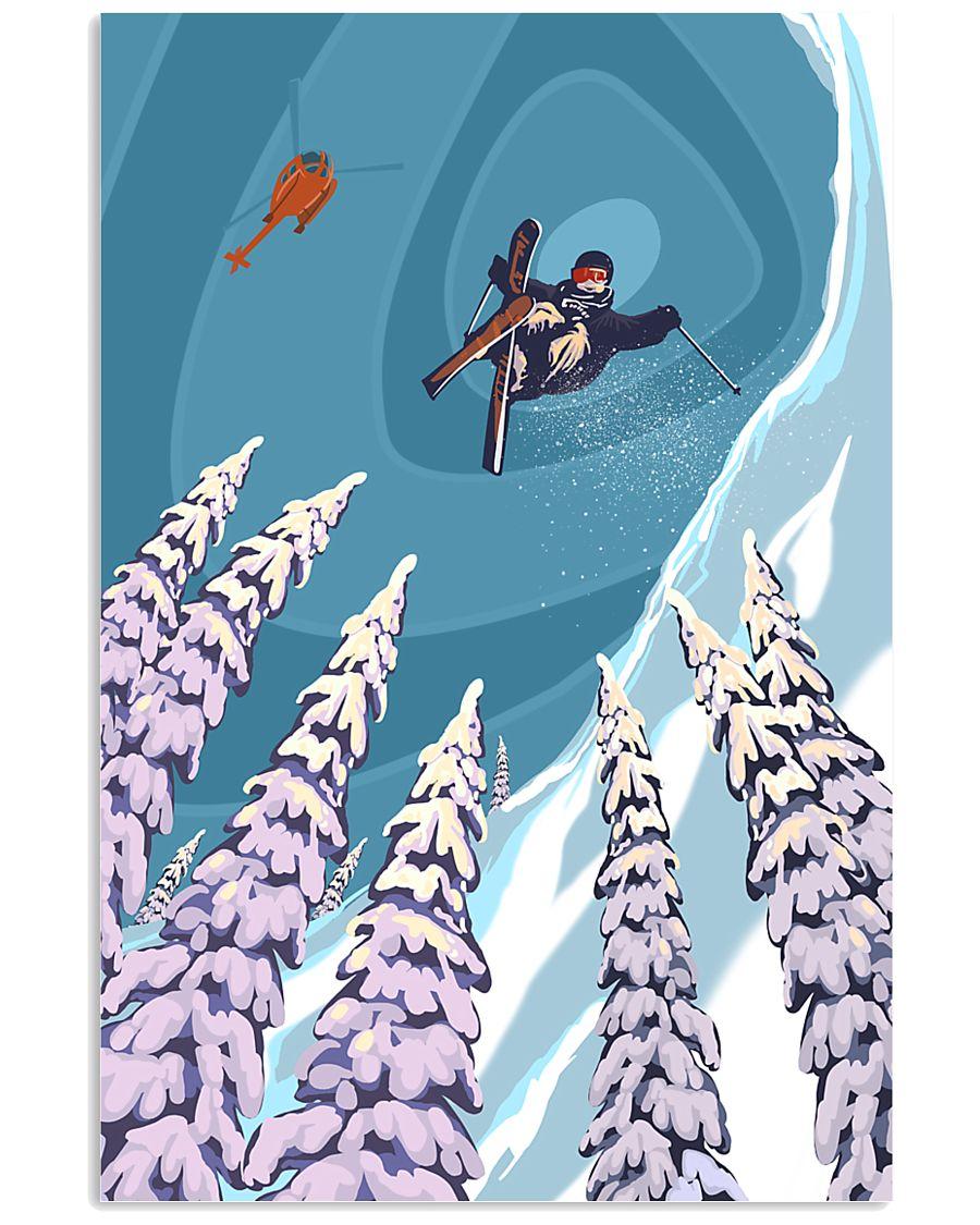 SKIING Poster Heli Retro Ski Jump 24x36 Poster