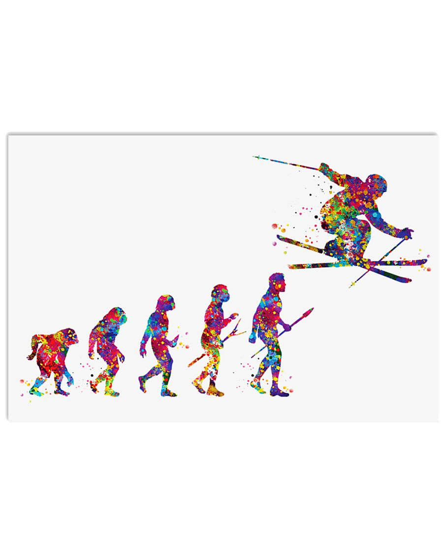 SKIING Poster Evolution Watercolor 36x24 Poster