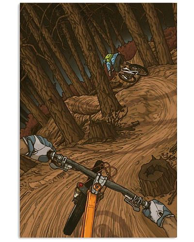 MOUNTAIN BIKING Illustration Poster