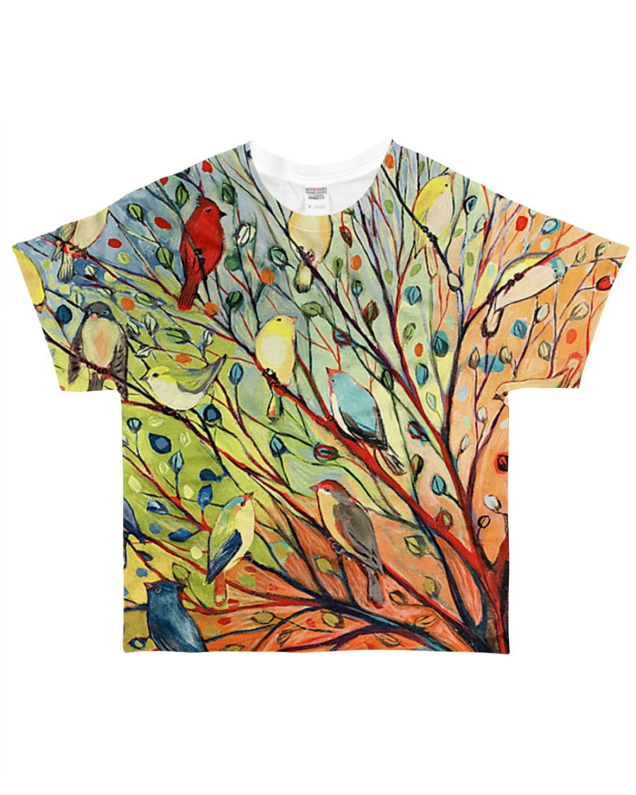 Bird shirt colorful bird on trees All-over T-Shirt