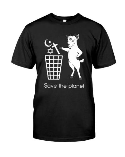 Satan shirt lucifer devil shirt save the planet