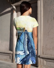 Whale dress watercolor blue ocean All-over Dress aos-dress-back-lifestyle-1