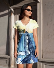 Whale dress watercolor blue ocean All-over Dress aos-dress-front-lifestyle-1