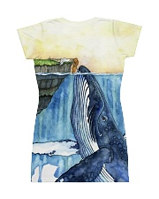 Whale dress watercolor blue ocean All-over Dress back