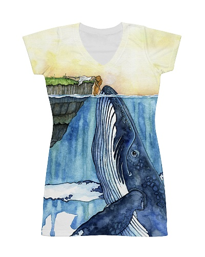 Whale dress watercolor blue ocean