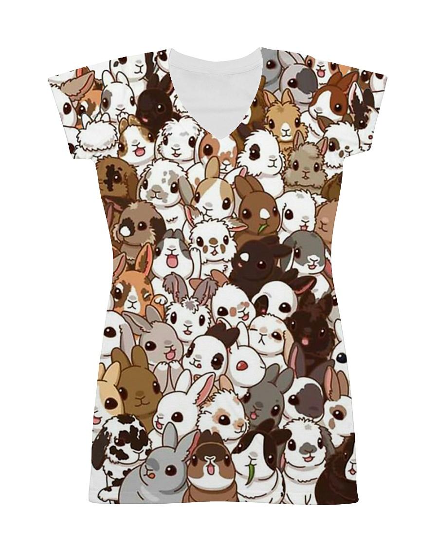 Rabbit dress cute cartoon bunnies All-over Dress