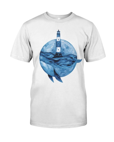 Whale shirt peace lighthouse watercolor
