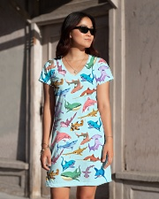Shark dress colorful shark All-over Dress aos-dress-front-lifestyle-1
