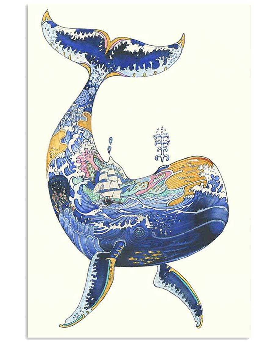 Whale poster art watercolor 11x17 Poster