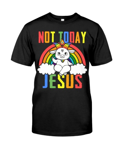 Satan Baphomet Not Today Jesus