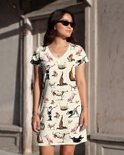 Vegan shirt animal yoga veganism vegetarian shirt All-over Dress aos-dress-front-lifestyle-1