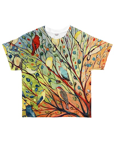 Bird shirt colorful birds on tree